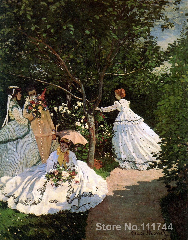 Pinturas de Claude Monet Mujeres en el jardín arte decorativo hecho a mano de alta calidad