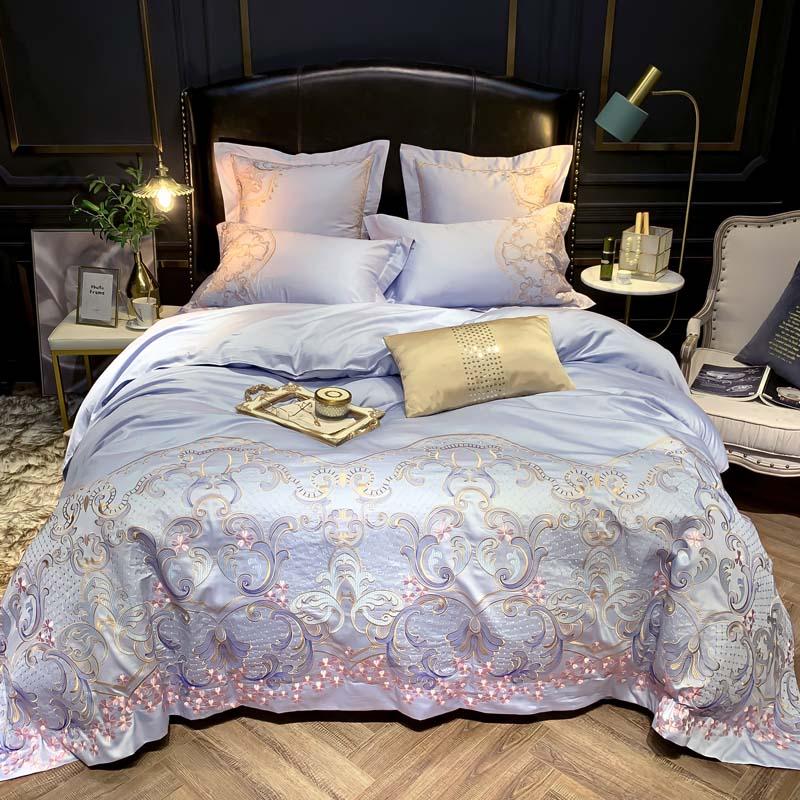 600TC Egyptian Cotton Sateen Stitch Duvet Cover Premium Embroidery Queen King size Bedding set Soft Bed sheet set Pillow shams