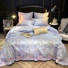 600TC z egipskiej bawełny satyna Stitch kołdra pokrywa wysokiej jakości haft królowa zestaw pościeli w rozmiarze king miękkie łóżko zestaw arkuszy poszewki na poduszki