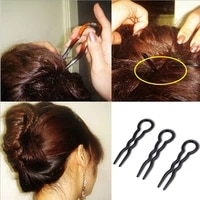 3pcsset women round toe u shaped wavy hair fork hairpins bun maker hair clips accessories girls quick diy hair styling tool