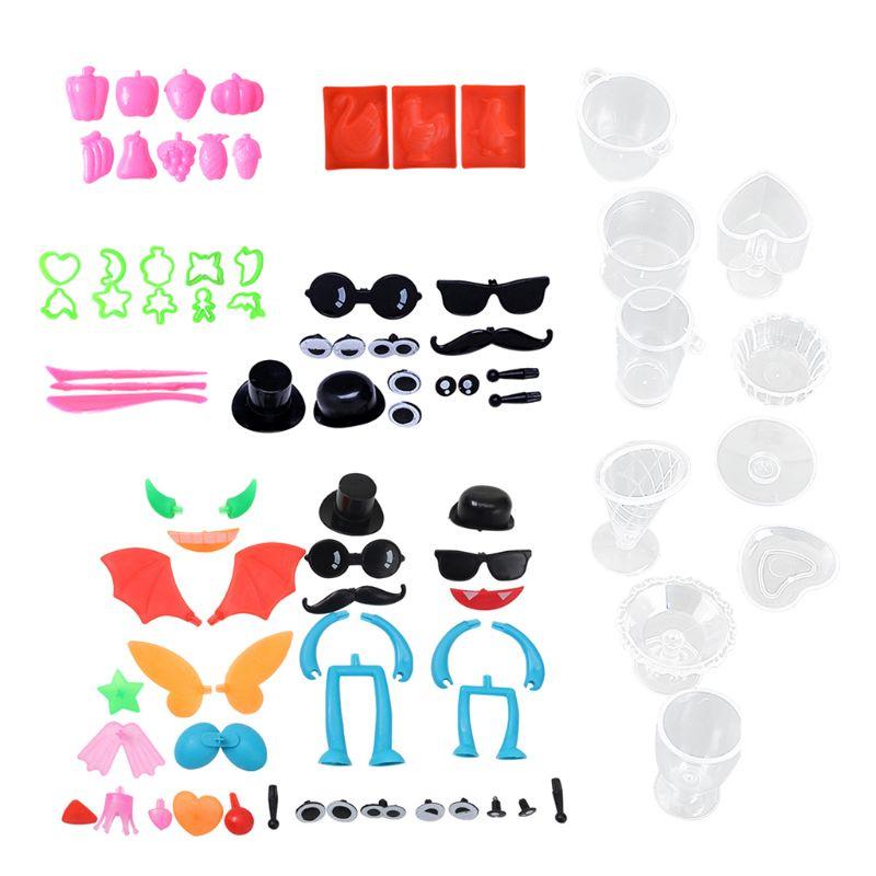 HBB 1 Set Plastic Clay Plasticine Mold Super Light Animal Fruit Heart Star Doll Eyes Children DIY Tools Kids Educational Toys