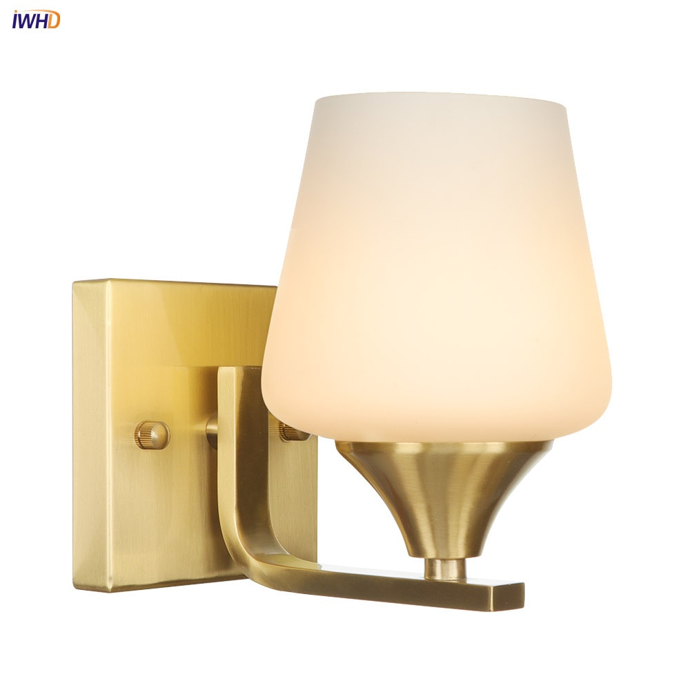 IWHD Glass Lampshade LED Wall Lights E27 Copper Nordic  Wall Lamp Creative Mirror Light Retro Fixtures Bedside Light iwhd nordic retro vintage wall lamp beside bedroom bathroom mirror light glass copper wall sconce edison led lampara pared
