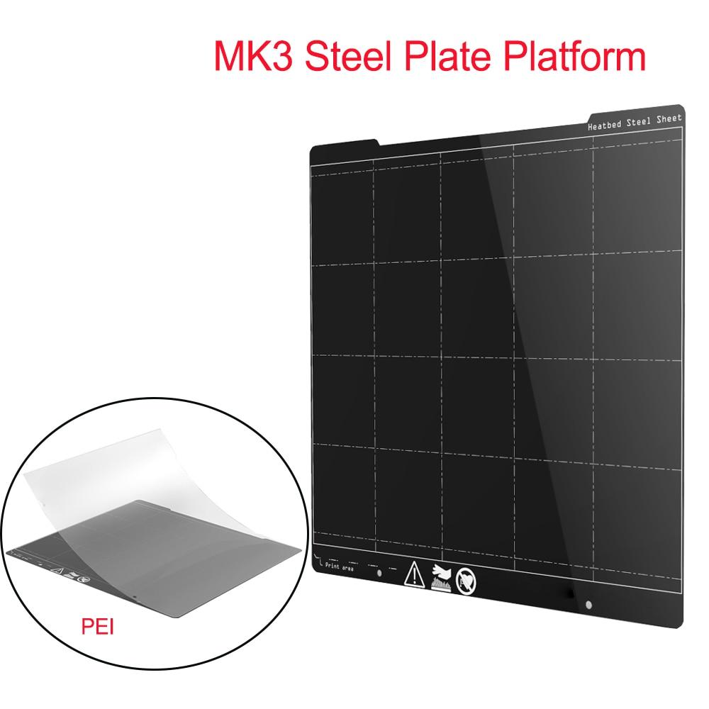 MK3 пружинная стальная пластина платформа 254*241 мм Heatbed 3D принтер платформа + пей лист 3D принтер части для I3 MK3 MK3S Hotbed стикер