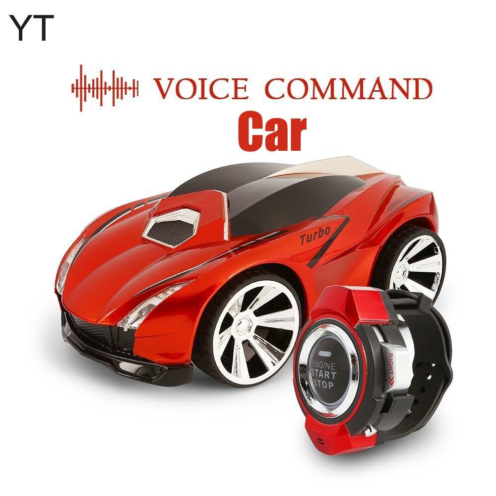 Mando de voz para coche, Control de Radio recargable por Smart Watch, creativo coche RC activado por voz, deslumbrantes faros delanteros y frenos frescos
