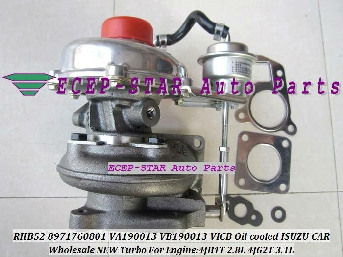 Envío Gratis refrigerado por aceite Turbo RHB52 8971760801 VA190013 VICB turbocompresor de la turbina para ISUZU 4JB1T 4JB1-T 2.8L 4JG2T 3.1L juntas