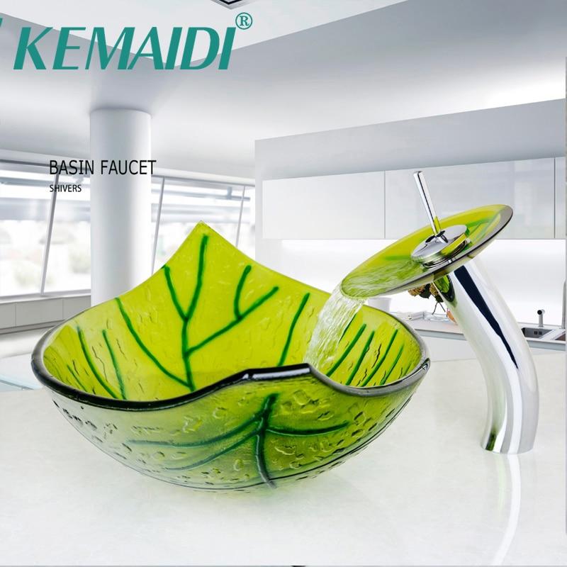 Ручная мойка KEMAIDI, форма зеленого листа, для ванной комнаты, с миксером, набор сливных раковин из закаленного стекла