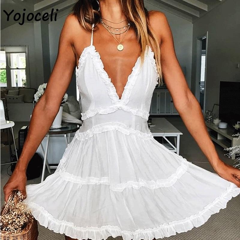 ¡Novedad del 2019! vestido playero blanco sexi de Yojoceli, vestido veraniego con escote en v y volantes para mujer