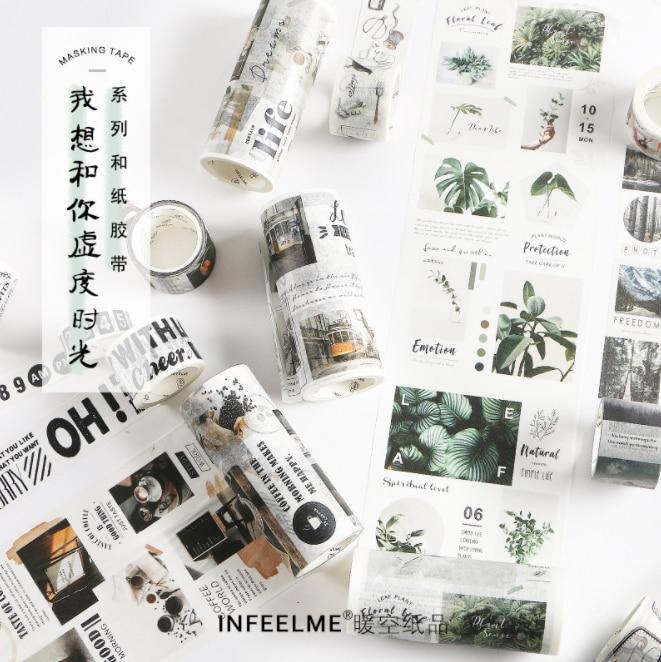 Calendario Digital postal bala diario Travelling Washi cinta adhesiva DIY Scrapbooking Sticker etiqueta japonesa