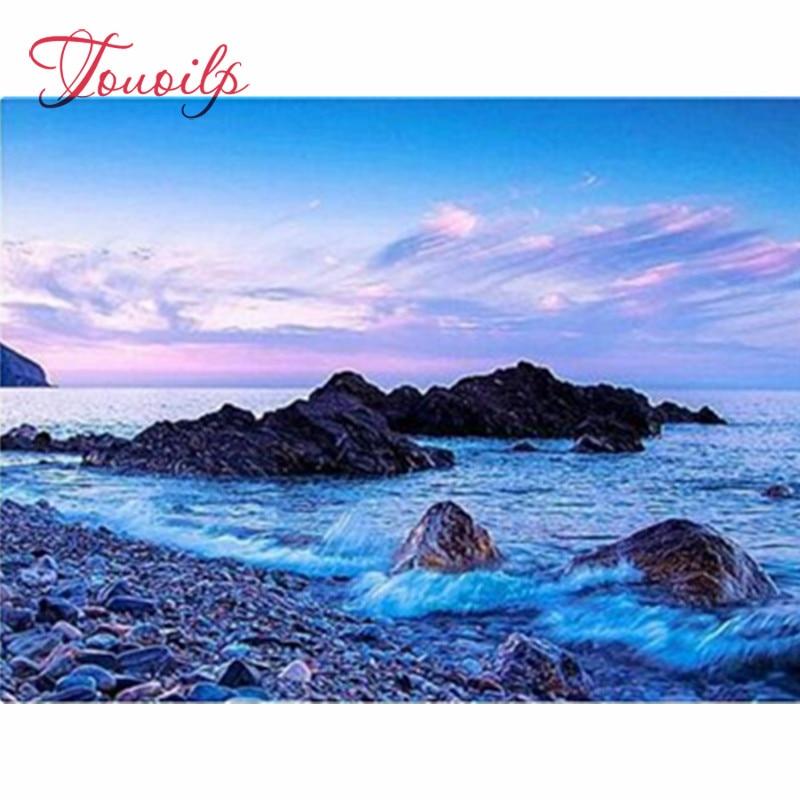 TOUOILP 100% Full 5D Diy Daimond Painting Sunset Sea view Rhinestones Diamant