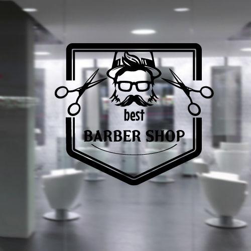 Art Vinyl Decal Polygon Cap Glasses Moustache Bread Scissors Best Barbershop Beauty Stylist Hair Salon Wall Stickers Mural B022