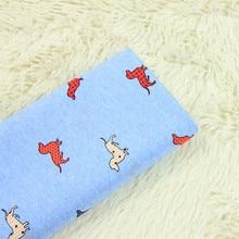 half meter combed cotton poplin high density fabric with cartoon sausage dog print, garment dress children coth B65