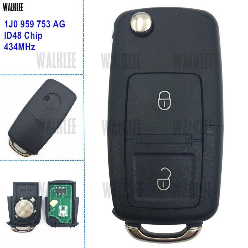 WALKLEE-clé à distance 1J0 959 AG / 1J0959753AG Autoo   Combinaison 753 MHz pour SKODA Fabia superbe Octavia ID48 Chip HU66 lame