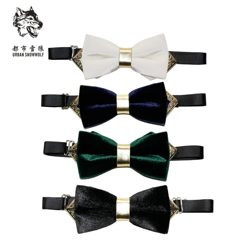 New FreeShipping fashion casual Men's male Korean velvet bowtie groom wedding luxury boutique metal collar stage angle on sale