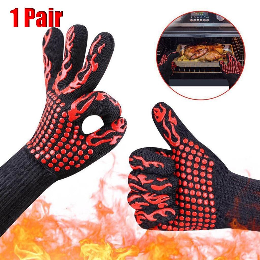 1 par de guantes de barbacoa guantes de cocina guantes de horno guantes de cocina resistentes al calor guantes de cocina multiusos # LR1