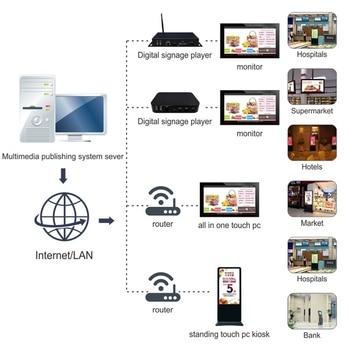 84 98 inch lcd tft panel display tv hd spliting screen monitor Remotely advertising system digital kiosk custom public software