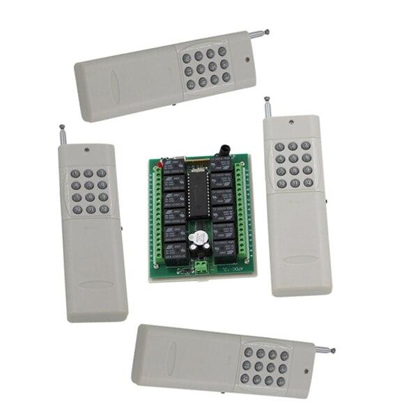 لمسافات طويلة dc24v 12 ch الترددات اللاسلكية نظام التحكم عن 1 استقبال + 4 الارسال 315/433 ميجا هرتز أعلى جودة