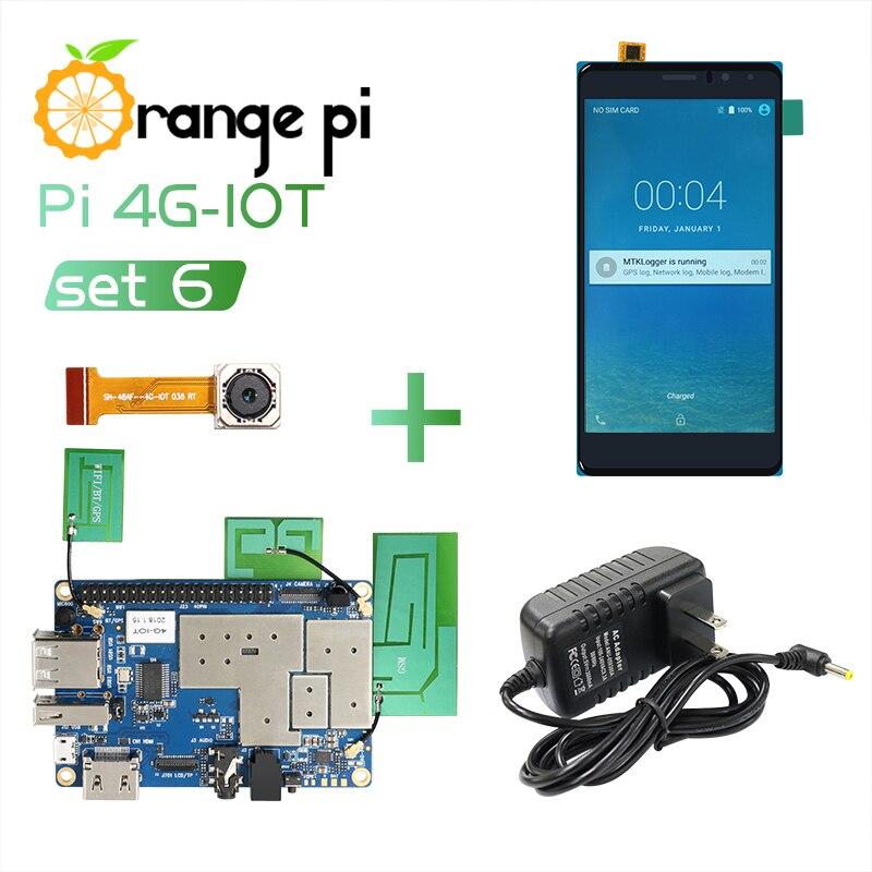Оранжевый Pi 4G-IOT Set6: оранжевый Pi 4G-IOT + 5,5-дюймовый черный цветной TFT ЖК-сенсорный экран + камера 5 Мп + источник питания