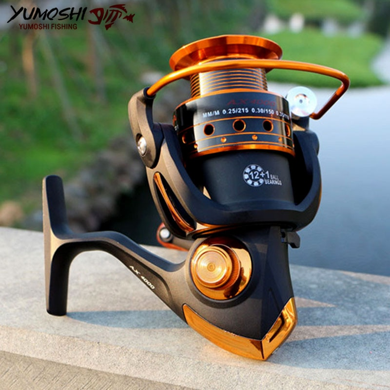 BX/AX1000-7000 13BB 5,2: 1/5,5: 1/4,1: 1 carretes de pesca y mosca giratorios de Metal para agua fresca/sal