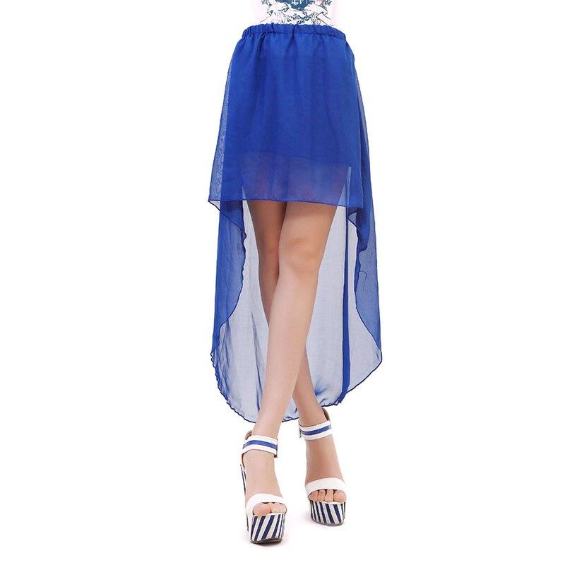 Envío Gratis, moda chifón irregular de color sólido falda de gasa con cola de milano