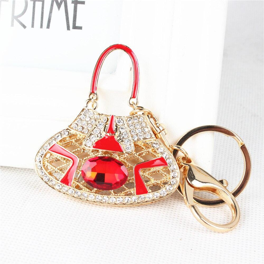 Personnalité femmes dame Hangbag rouge grand ovale cristal pendentif à breloque sac à main porte-clés chaîne de mariage fête danniversaire meilleur cadeau