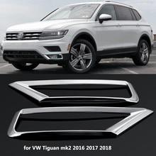 2 x avant de voiture lampe antibrouillard couverture garniture ABS Chrome autocollant de décoration de voiture pour Volkswagen VW Tiguan Mk2 2016 2017 2018