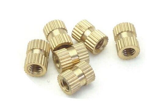 100 Uds M5 * 6*6 MM inserciones de cobre tuerca de inyección piezas incrustadas tuerca moleteada de cobre