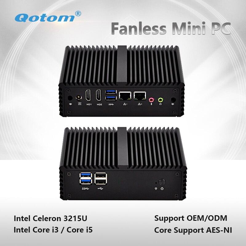 Qotom-Q400S-S08 Industrial Qotom Mini PC con WiFi Dual Core 2 Ethernet NIC LAN Celeron Core i3/i5 procesador cliente Delgado