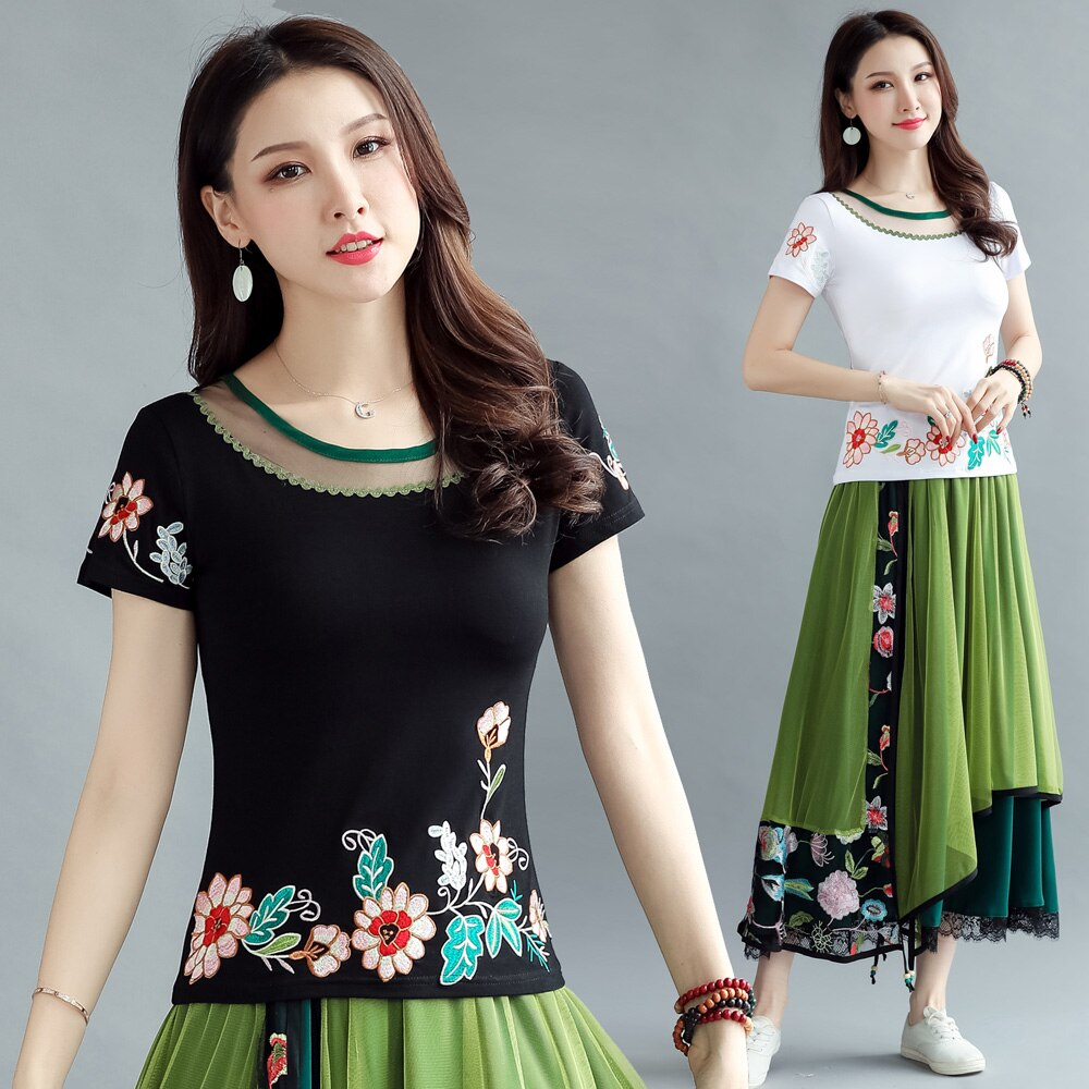 camisetas verano mujer 2020 women summer l-4xl Mexico style ethnic boho hippie short sleeve black white embroidery t shirt tee