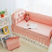 Ensemble de literie princesse en dentelle   Rose, pour bébé, 100% coton, linge de lit, oreiller, drap de couette, pare-chocs, dans la crèche, linge de lit de bébé