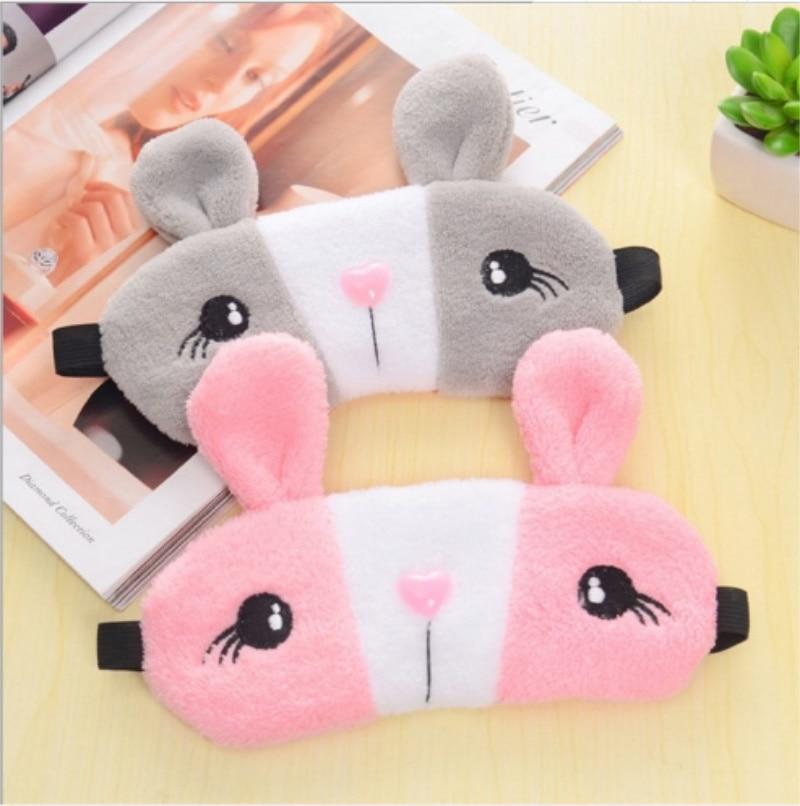 Relaxing Cute Pink Rabbit Sleep Masks Deep Sleeping Silk Gel Shade Eyepatch Eye Mask Soft Shading Eye Patch Cover 200pcs