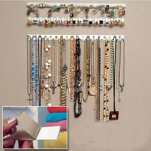2019 vintage 9 pçs ganchos de jóias adesivas montagem na parede de armazenamento titular organizador expositor novo