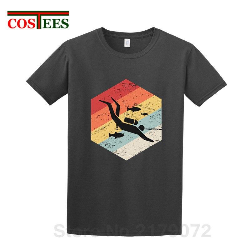 Nuevo Retro años 70 ropa buzo icono T camisa de los hombres casuales de buceo Camiseta de manga corta de natación camiseta buceador Camiseta de algodón camisa hombre