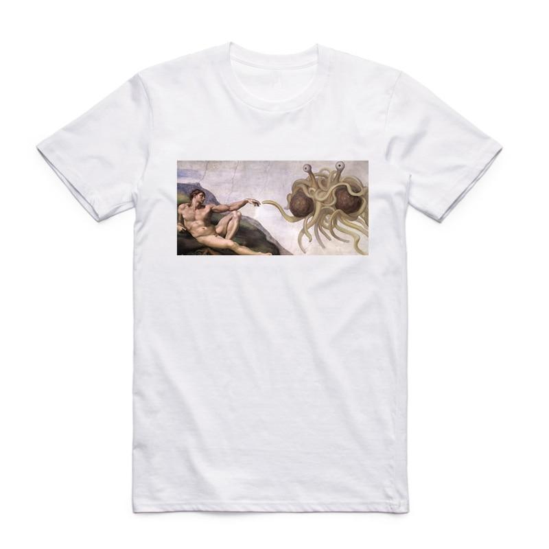 Camiseta divertida de manga corta con cuello redondo informal de verano con estampado FSM Flying Spaghetti Monster talla asiática para hombres y mujeres HCP4297