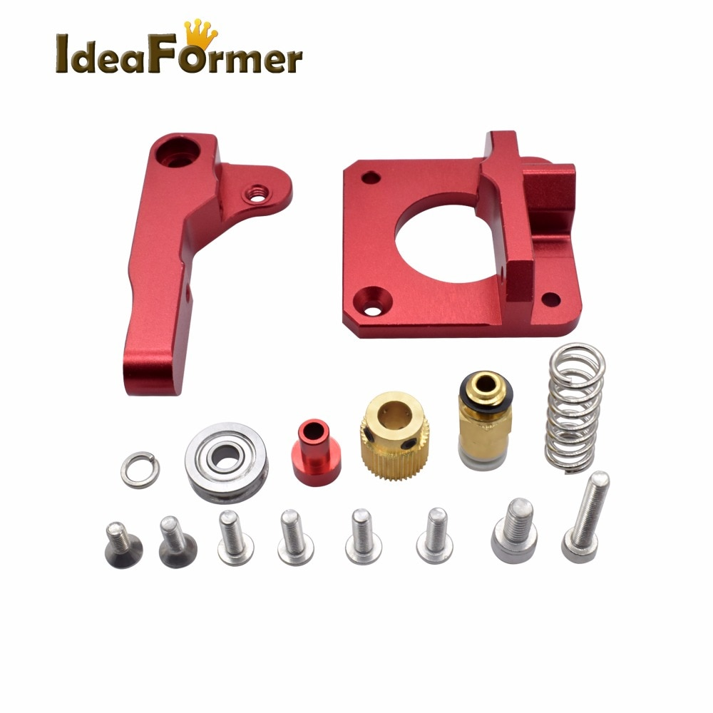 Extrusor remoto para impressora 3d, extrusor metálico vermelho mk8 para impressora 3d, bowden, destro e canhoto, filamento 1.75