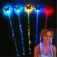 5pcs / lot Flash LED hair light emitting Fiber optic Pigtail Braid Plait Luminous Hair Wig Party Supplies hair accessory