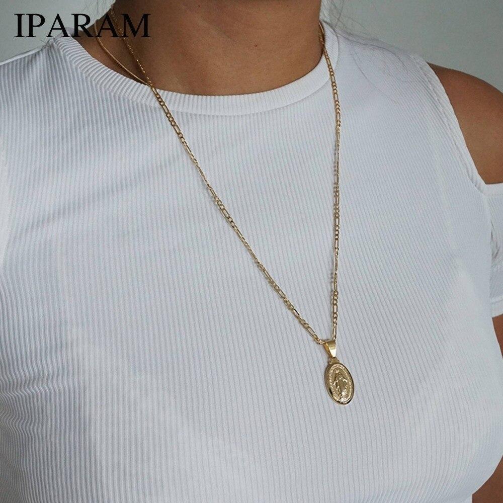 IPARAM Gold Medaillon Jungfrau Maria Halskette, Unisex Halskette, Münze Halskette, Lange Schichtung Halskette