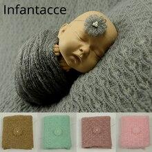 40x150cm mohair urdimbre + diadema set recién nacido foto Prop elástico tejido fotografía utilería manta accesorios de relleno babyshootina