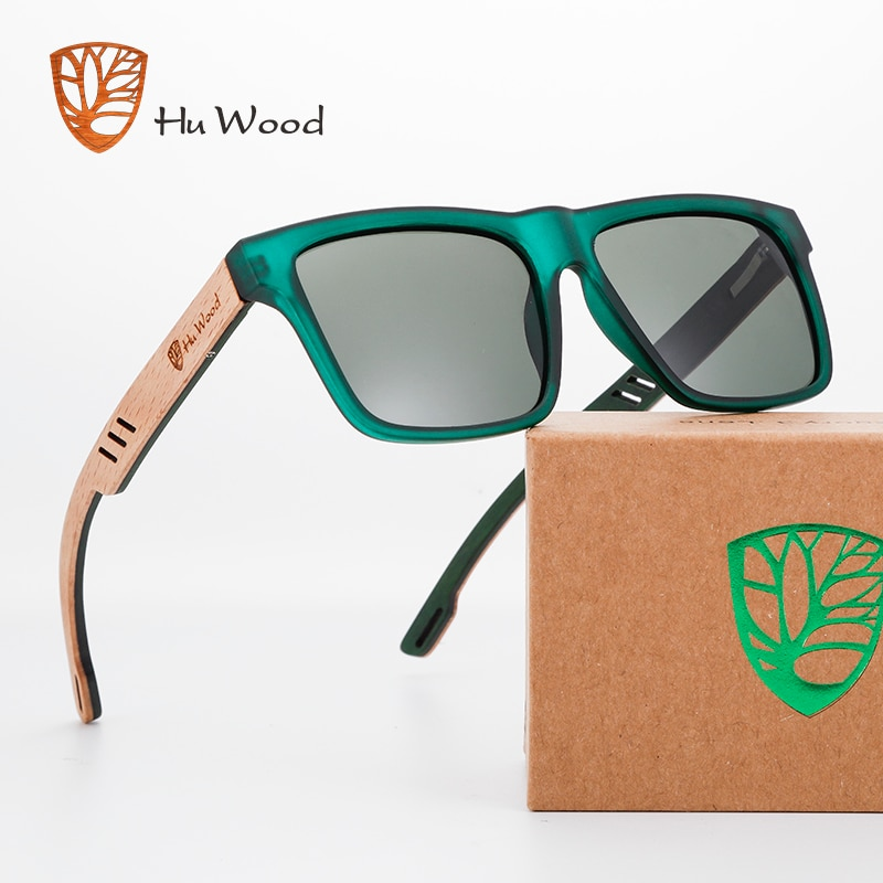Hu Wood  2020 New High Quality Square Sunglasses Men Polarized UV400 Fashion Sunglass Mirror Sport sun glasses  Driving oculos