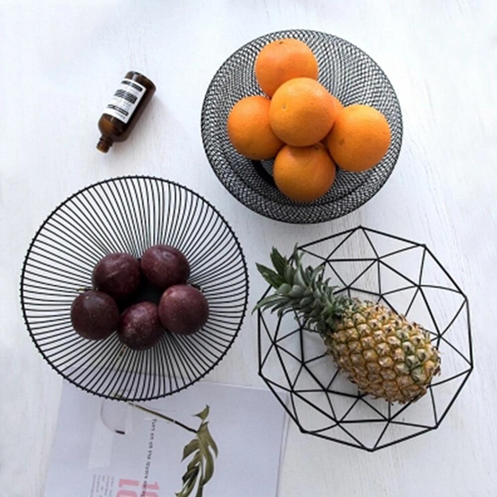 Mesa de hierro de estilo nórdico, cesta de almacenamiento de frutas, cuenco organizador para el hogar, aperitivos de verduras, dulces, cocina, comedor, herramienta de decoración