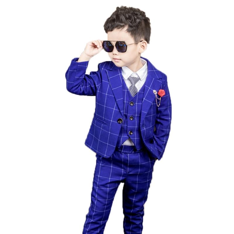 Flower Boys Formal Plaid Wedding Suit Kids graduation Blazer+Pants+Waistcoat+Tie Baby Birthday Prom Piano Party Dance Costume