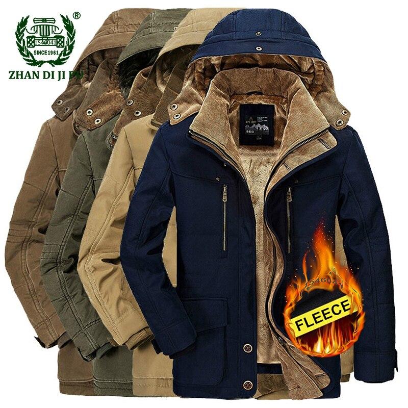 2018 inverno engrossar quente homens preto azul com capuz jaqueta homem casual marca de algodão caqui afs jeep velo grosso jaqueta plus size casacos