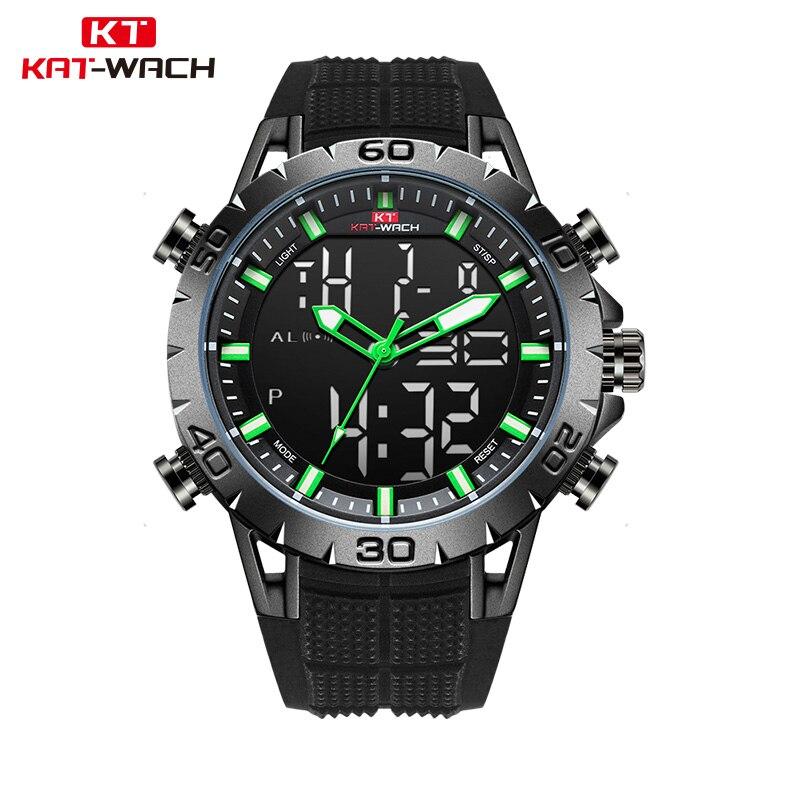 KAT-WACH العلامة التجارية الفاخرة الرجال الساعات الرياضية مقاوم للماء الرقمية LED العسكرية ساعة الرجال موضة إلكترونيات ساعات المعصم Relojes
