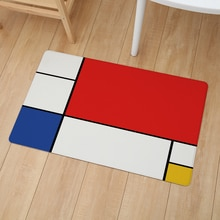 Mondrian Yellow Red Geometric Print Floor Door Mat 46*76cm Kitchen Carpet Bedroom Bathroom Entrance Anti-Slip PVC Leather Mats