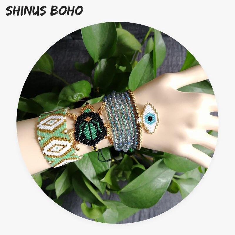 Shinusboho mexicano pulseira verde besouro pulseira inseto miyuki pulseira ctystal cz frisado pulseira turquia olho bijoux