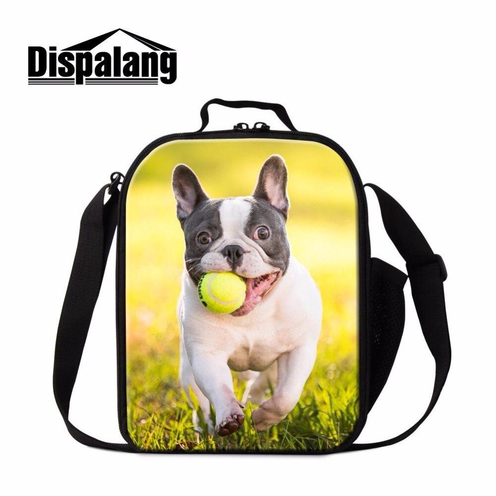 Dispalang estilo impresiones de bulldog bolsas de almuerzo Tote con cremallera señoras fiambrera bolsas de Picnic para niños contenedor de alimentos aislado