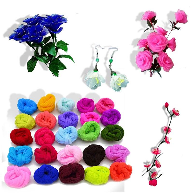 5 uds Multicolor resistencia a la tracción de DIY flor hacer Material media de Nylon accesorio boda casa a mano hecho a mano DIY Flor de nilón