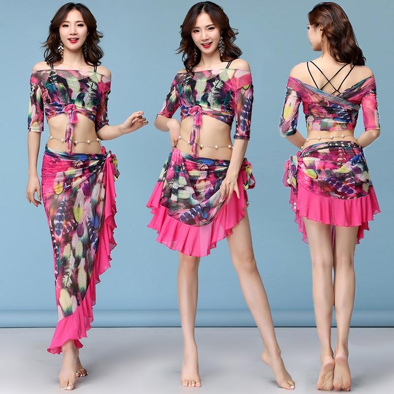 لباس رقص شرقي مثير للنساء ، بلوزة رقص مع تنورة ملفوفة قابلة للتعديل من قطعة واحدة