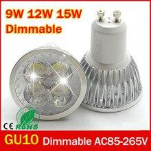 Projecteur de ampoule LED Ultra lumineux Dimmable 9 w 12 W 15 w GU10 haute puissance gu 10 lampe à LED SPOT de LED blanc livraison gratuite