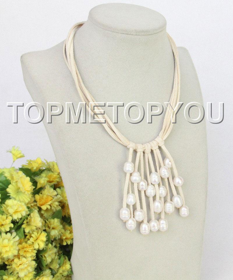 """LIVRAISON GRATUITE >>>@@> réglable 16 """"-18"""" 5row Baroque blanc perles blanc en cuir collier"""