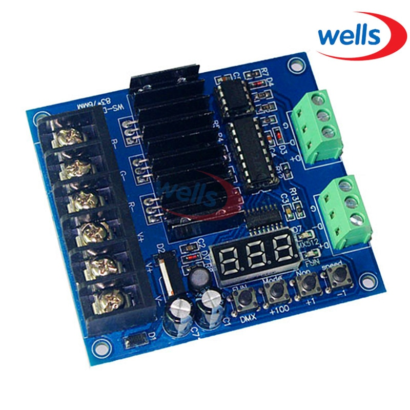 DMX512 3CH Constant voltage common anode controller,Refresh frequency 7.8KHZ,Digital tube display , RGB controller DC5~24V